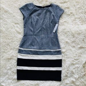 Women's Petite Chambray Colorblock  Dress